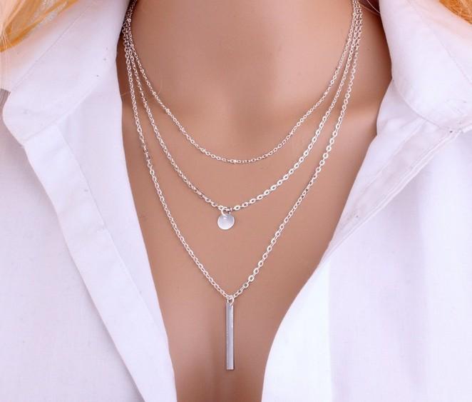 Simple moda collar para las mujeres de largo Y Bar del encanto del collar de la moneda de múltiples capas minimalista de las lentejuelas de la cadena para niñas (oro, plata)