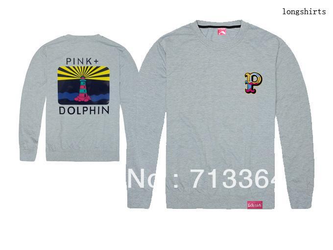 2018 nova chegada rosa golfinho manga longa camisas hip hop dos homens de manga longa t-shirt frete grátis 100% algodão boa qualidade plus size impressão
