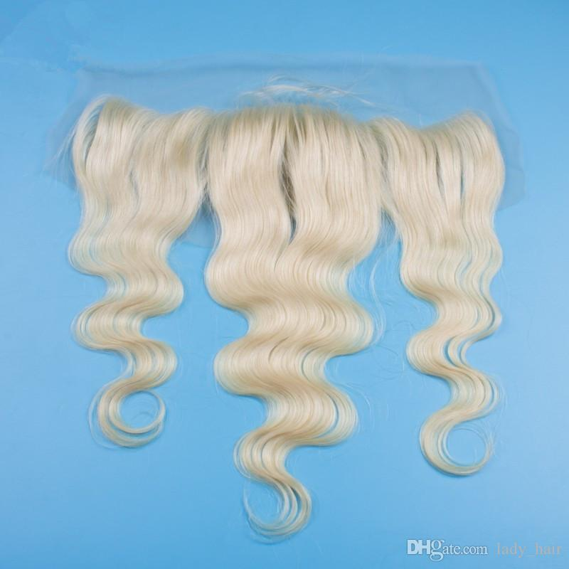 13x4 Ear to Ear Lace Frontal Closure 9A Grade Malaysian 613 Blonde Body Wave ondulado Frontals de encaje completo con Baby Hair Bleached Knots