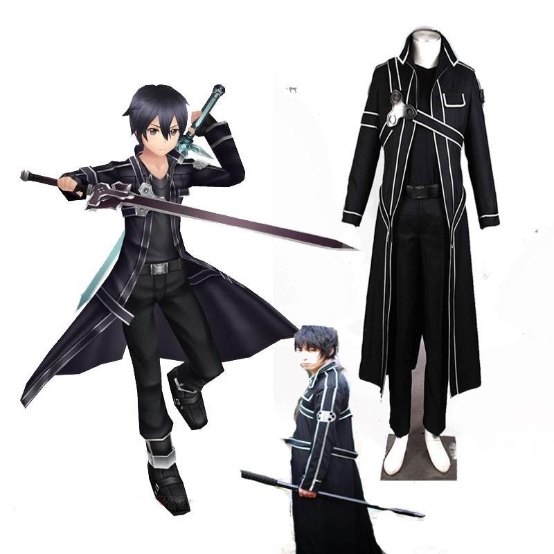 Highest Quality Sword Art Online Kirito Anime Cosplay Costume Christmas Full Set Black Handmade Costom Made