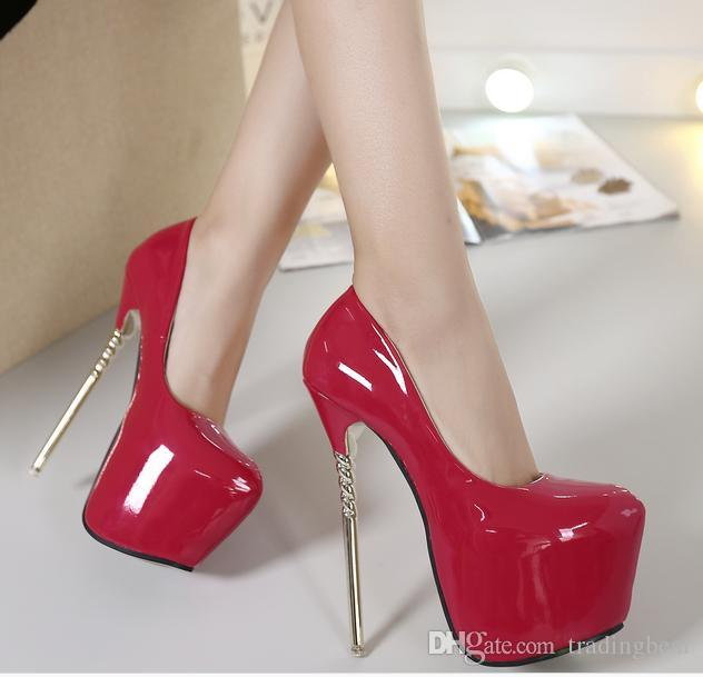 16cm sexy shoes high heels pumps red wedding shoes platform solid color size 34 to 40