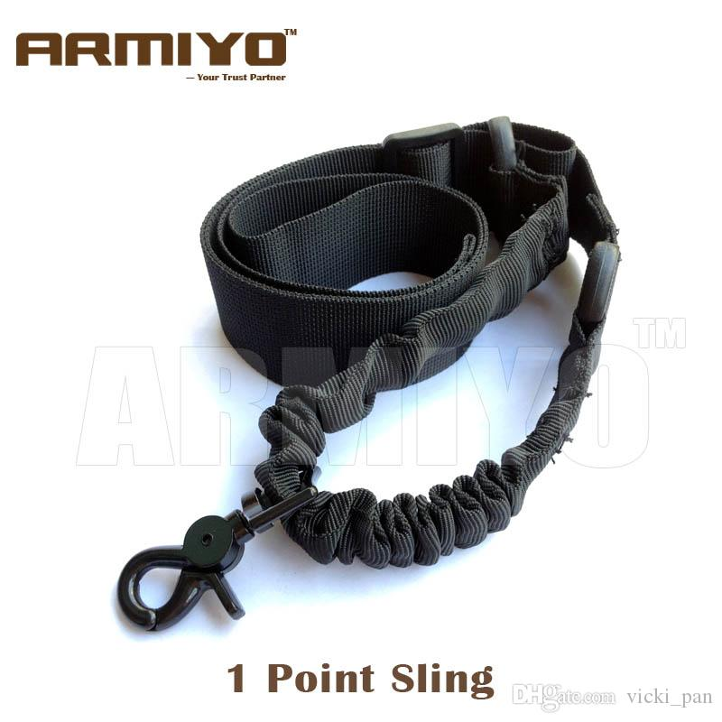 Armiyo 1 Punto Tracolla Elastico Bungee Tactical Nylon Airsoft Gun Sling Per Caccia Nero Dark Earth Green