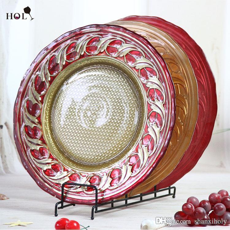 Decoração de casamento barato vermelho vermelho e ouro placa de carregador de vidro redonda com preço CIF para o jantar
