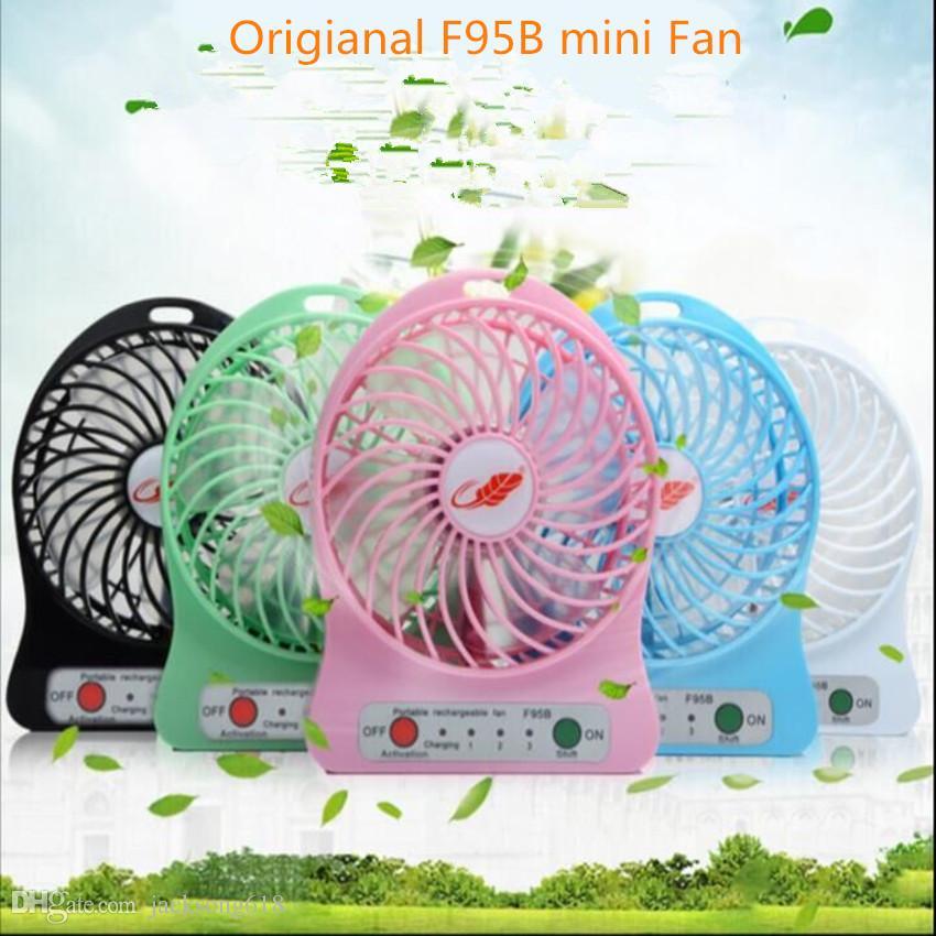 Mini Protable Fan F95B Multi functional USB Rechargerable Kids Table Fan LED Light 18650 Battery Adjustable 3 Speed Multi Color 10pcs/lot