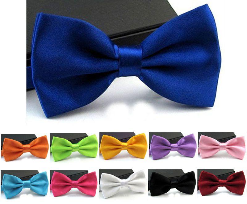 2016 Men Classic Tuxedo Satin Solid Color Adjustable Wedding Party Bowtie Bow Tie Bridegroom Bowknot Mens Ties Wedding Decorations
