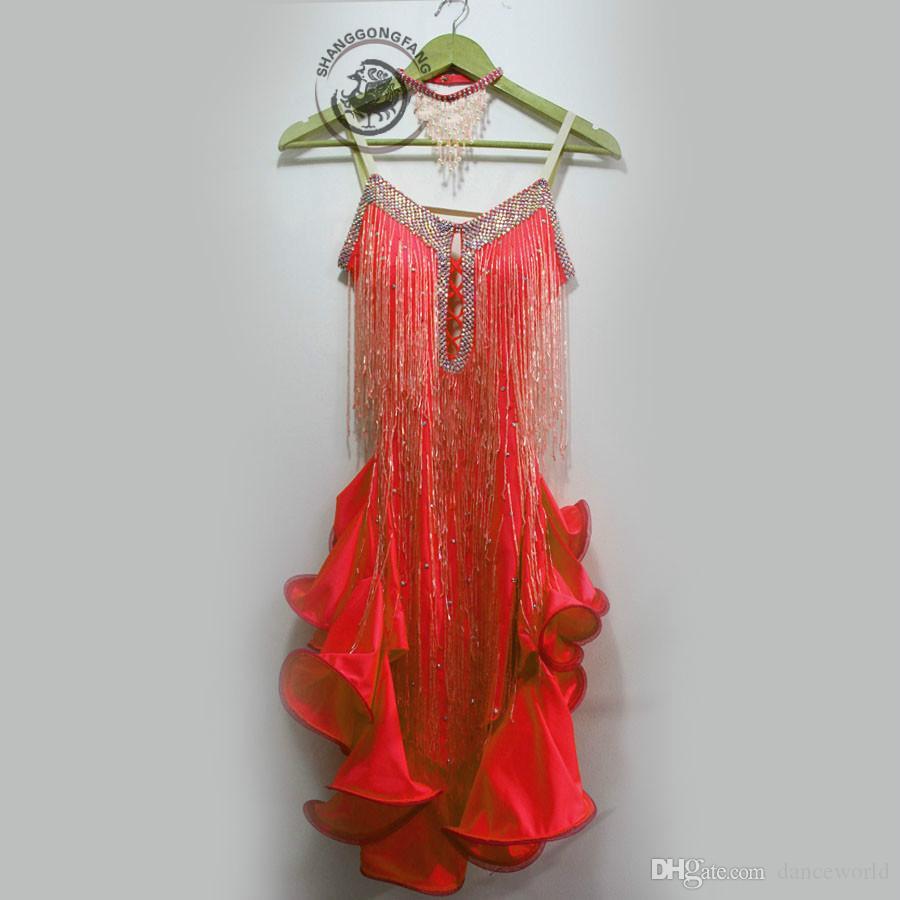 2019 dult / Costume da ballo latino da ballo per bambini sexy paillettes rosse nappa vestito da concorso di ballo latino donna bambino abiti da ballo latino S-4XL