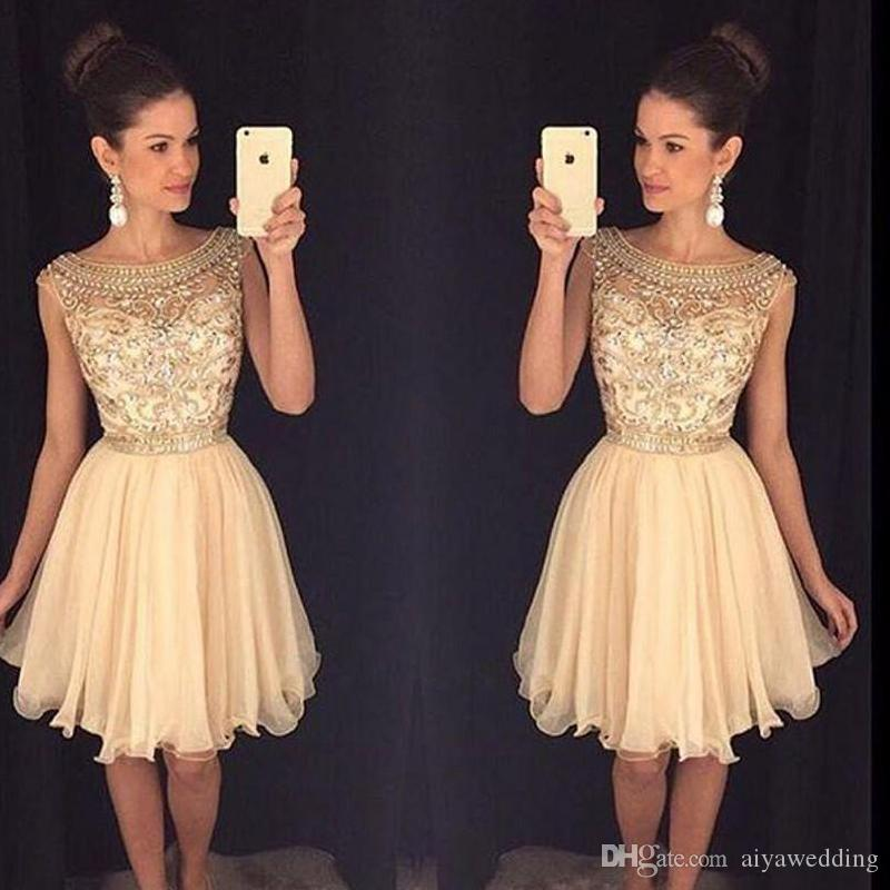 2019 Mini Short Homecoming Dresses Crystal Beaded Crew Neckl Graduation Dresses Little Chiffon Short Cocktail Dress Prom Party Dresses