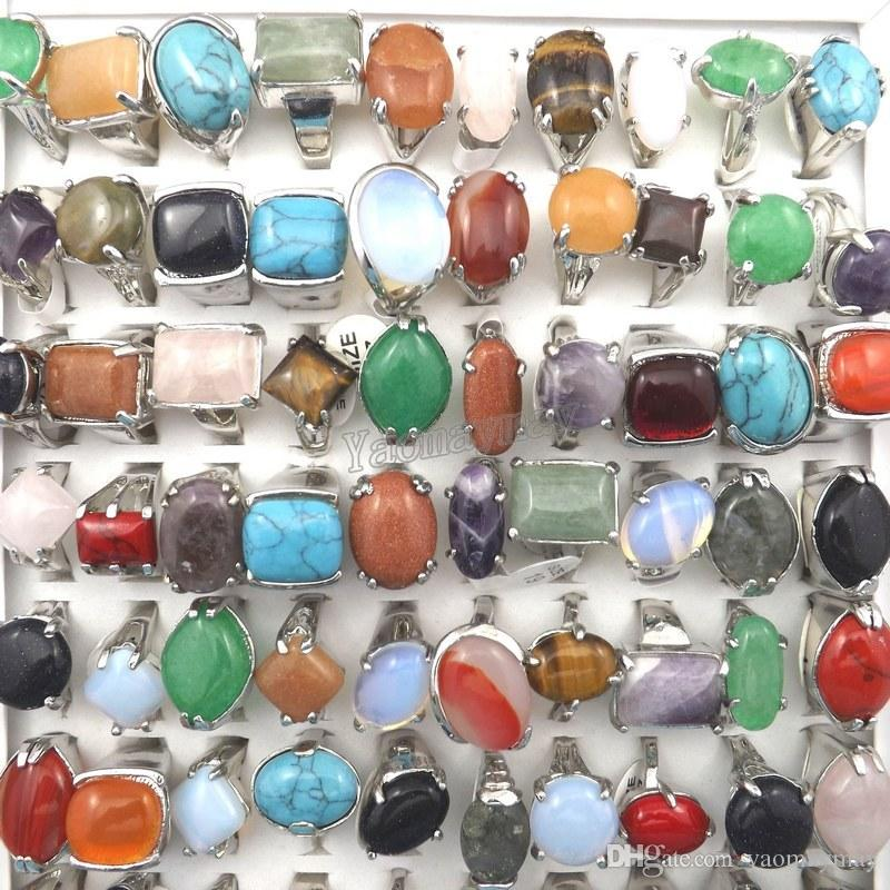 Mix Lot Men's Rings Natural Stone Rings For Natural Stone Collection Lovers Free Shipping 50pcs Wholesale