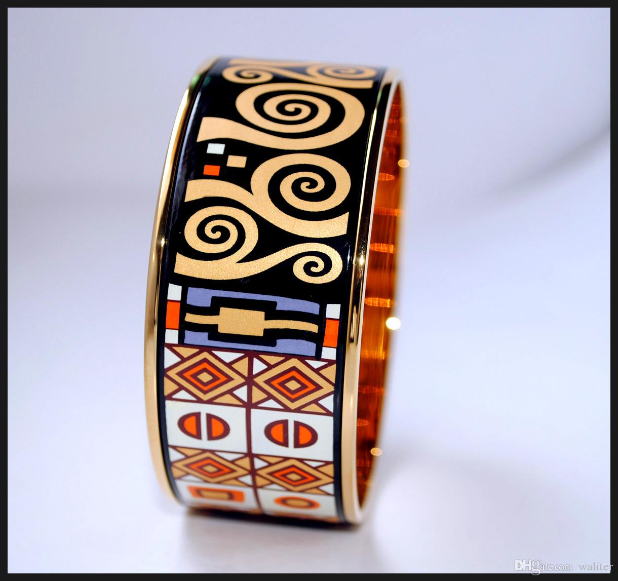 Klimt Series 18K gold-plated enamel bangle bracelet for woman Top quality bracelets bangles width 30mm Fashion accessories jewelry