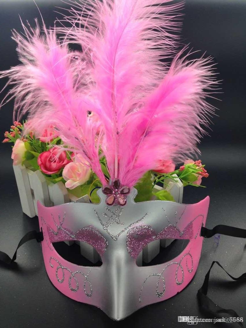 free shipping Christmas light emitting feather mask dance princess half face mask female children toys wholesale gift show props
