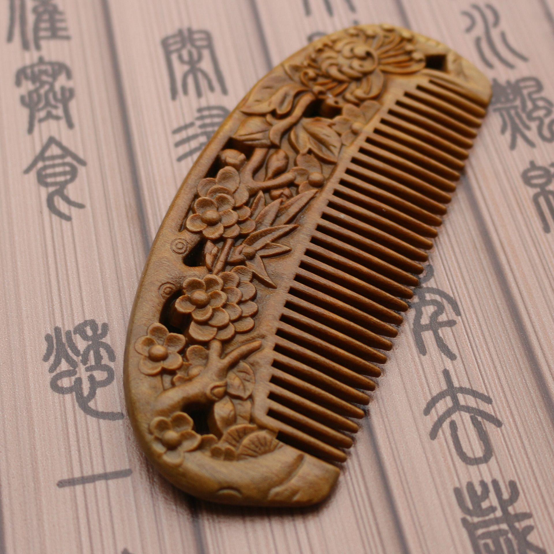 Peine de peine de ébano natural fino que talla la fábrica al por mayor de la salud del masaje Peine de madera de sándalo verde diseño personalizado