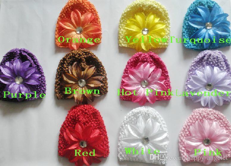 50pcs baby vaffel kepsar virka hattar hår blomma clips beanie med lilja peony daisy blomma flicka toddler stretchy caps mz9111