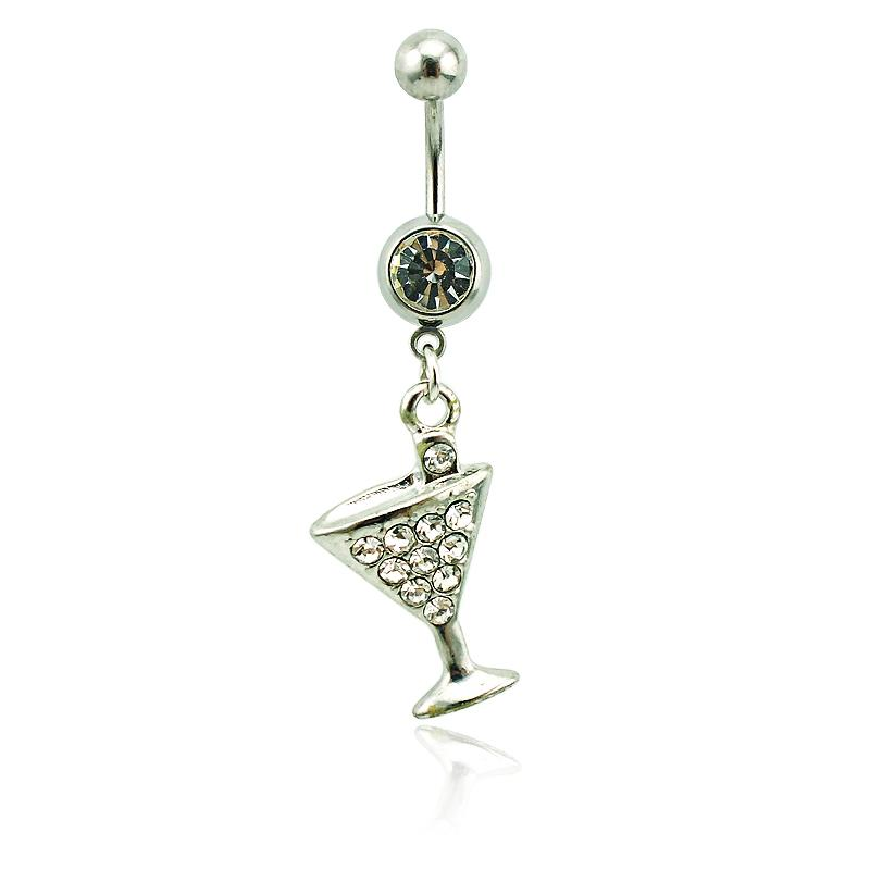 Brand New Belly Button Rings Surgical Steel Barbell Dangle White Rhinestone Wine Glass Navel Body Piercing Jewelry
