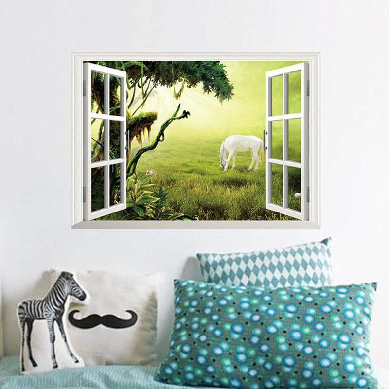 Hot!House Decorations 3D Wall Sticker Window View Removable Wall Art Stickers Vinyl Decal Decor Home Decor Free Shipping E5M1 order<$18no tr