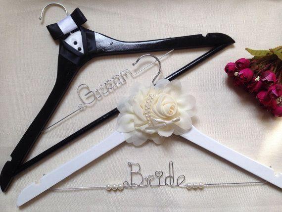 Set Of 2 Personalize Wedding Flower Groom Bride Dress Wire Hangers ...