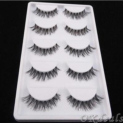 Wholesale-60 Pairs Of New Women Lady Lot Black Cross False Eyelashes Soft Long Makeup Eye Lashes Extension Tools