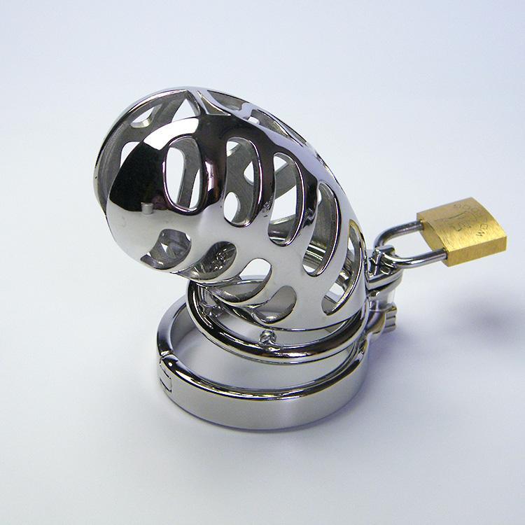 Gabbia di acciaio inossidabile con denti anello di castità Dispositivo di gabbia di cazzo con anello a scatto e lucchetto Giocattoli sessuali per uomini maschi di schiavitù 949 plus