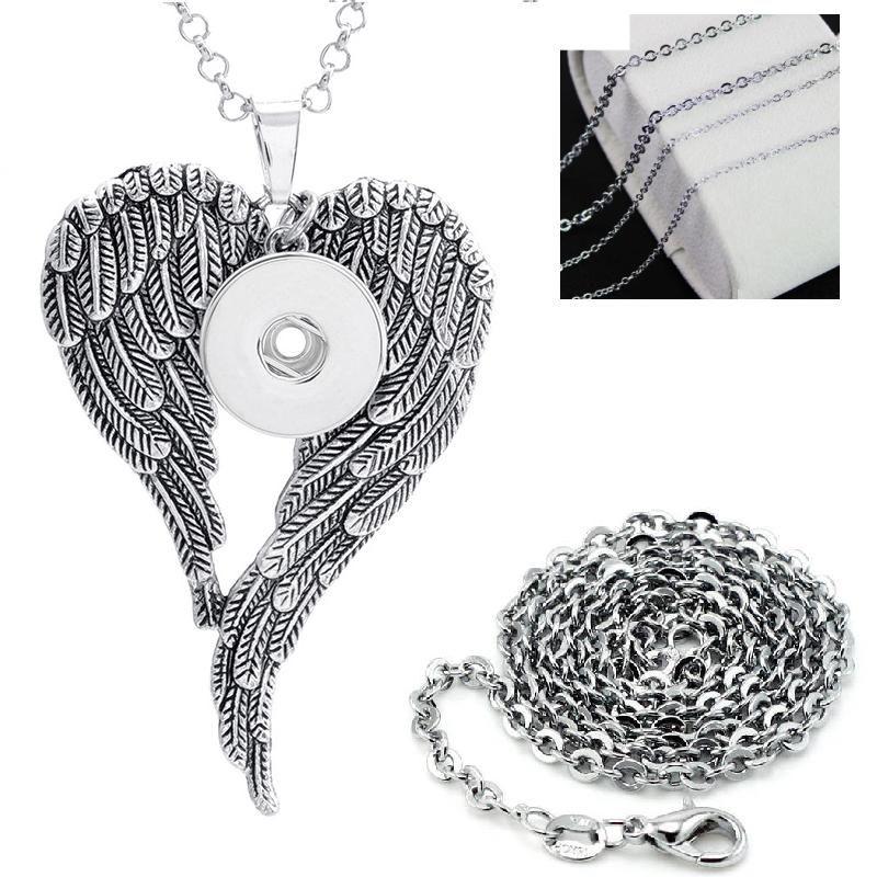 2020 Wing bouton bijoux pendentif accrochage Collier bijoux bouton Chunk (ajustement 18mm de boutons-pression de 20 mm) en alliage de zinc