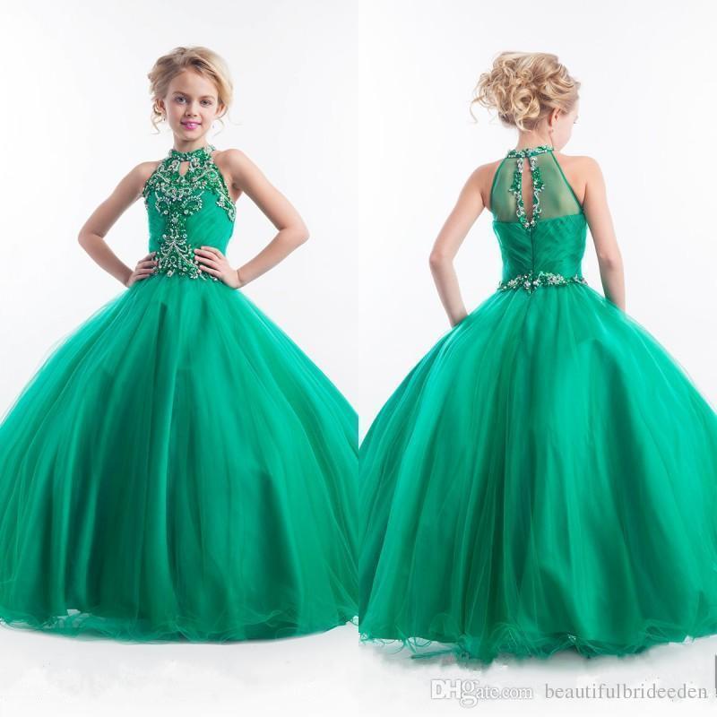 Изумрудно-зеленый девушки Pageant платья Холтер высокая шея тюль бисером кристаллы дети аппликации блеск цветок девушки платья Оптовая