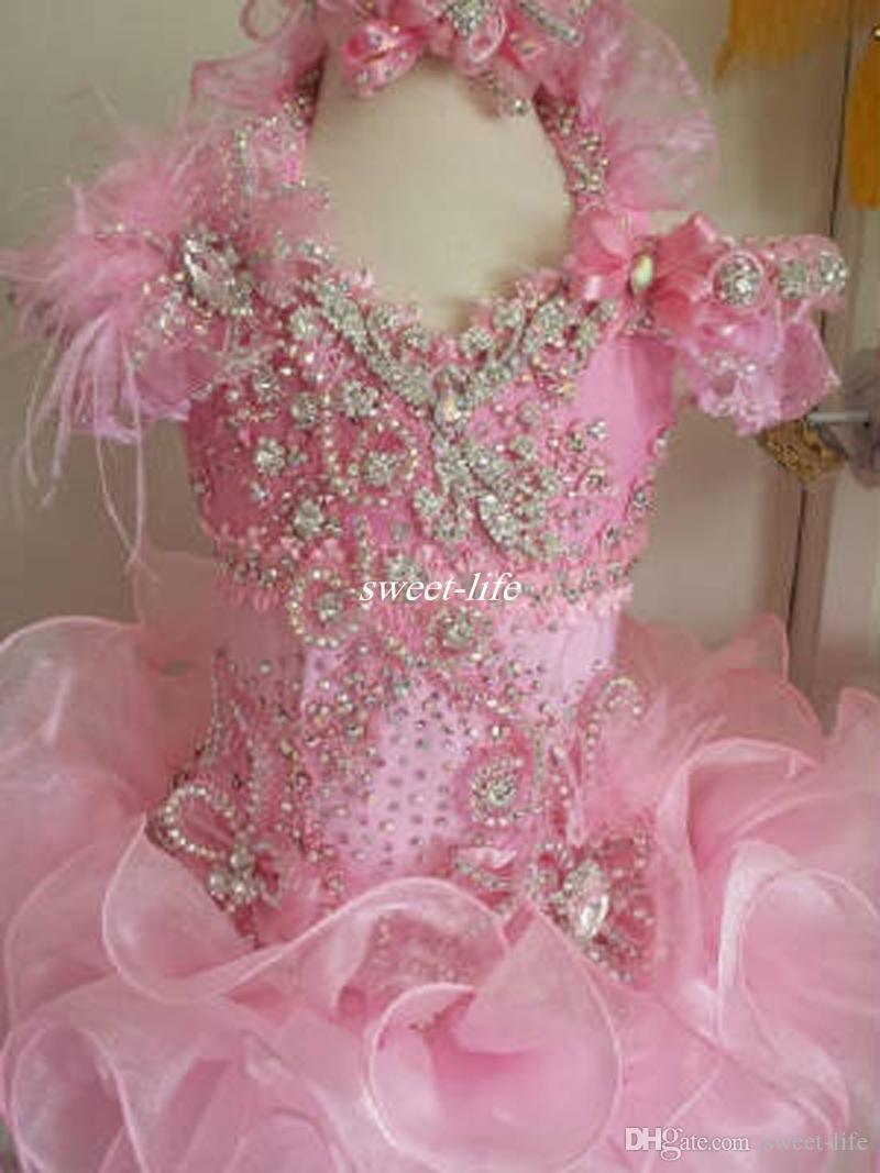 2019 mode rose rose rose robe volants filles pageant robes de luxe perle cristal fourrure Featz Goldz enfants joyeux robe fille robe fille