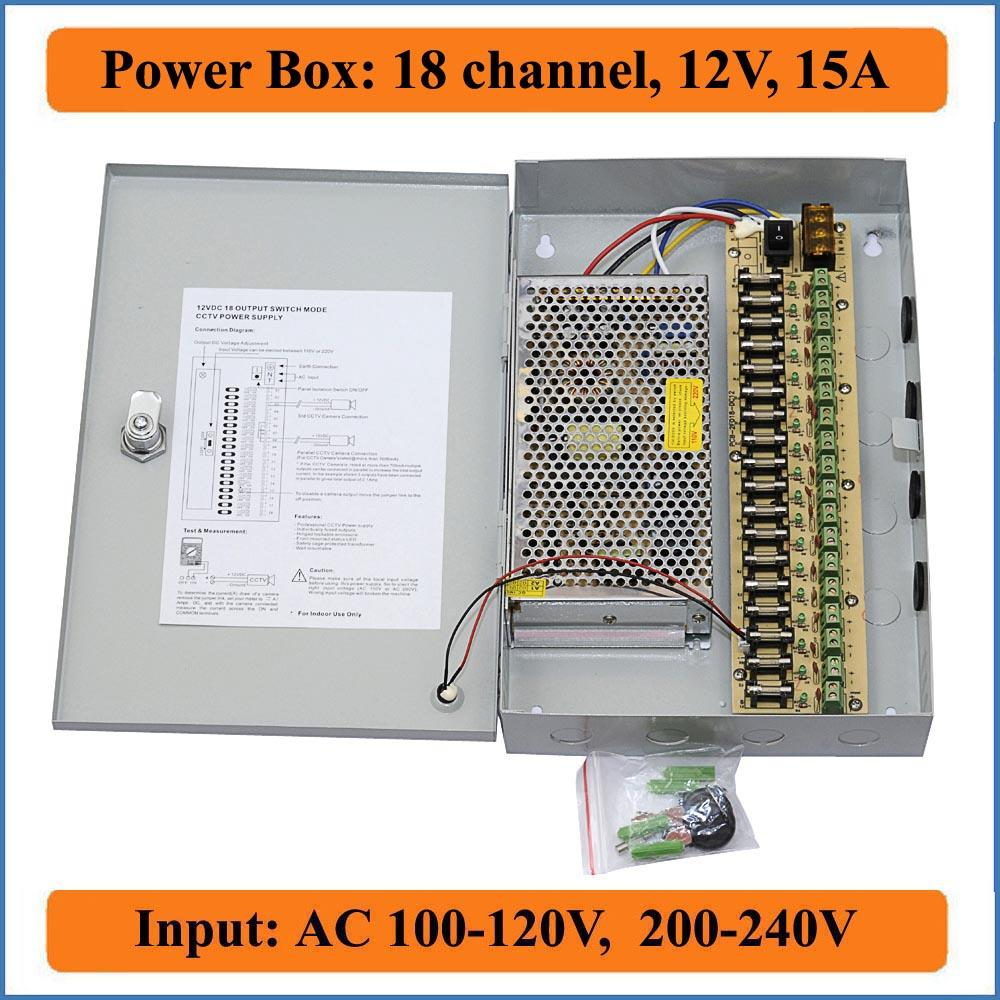 18 Port DC12V 15A CCTV Camera Power Box Security Video Cameras wall-hanging Box switching Power supply IP camera 18CH channel