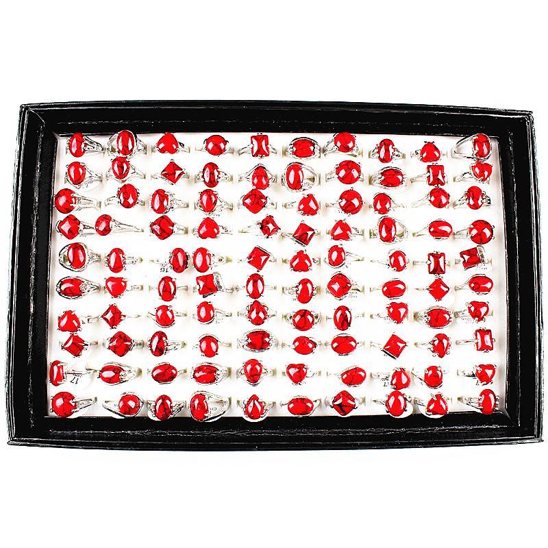 Venta al por mayor Lotes a granel 100pcs Estilos mixtos Señoras Color rojo Mujer Turquesa Metal Aleación de metal Anillos de joyería A estrenar