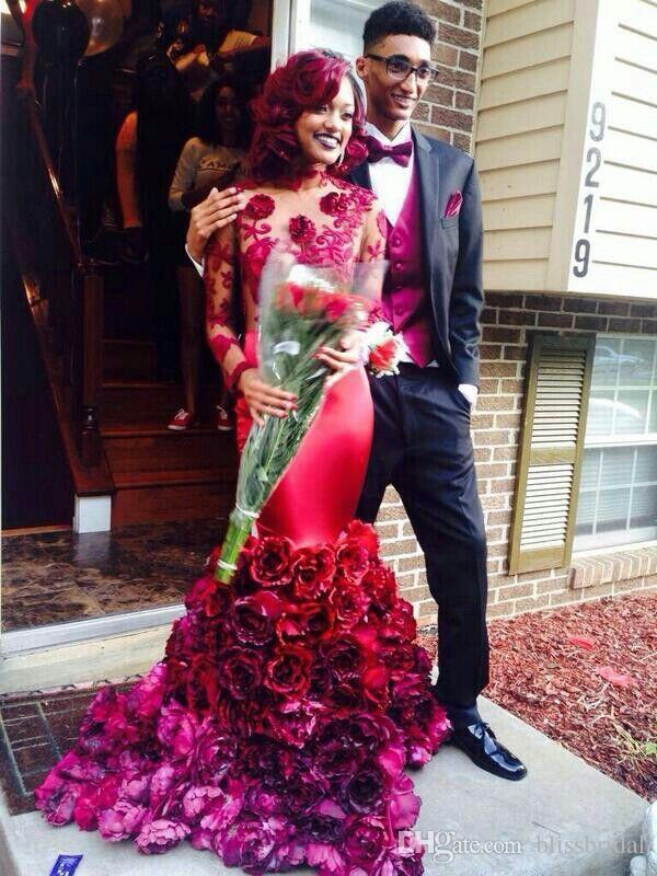 2016 Sexy African Burgundy Mermaid Prom Dresses with Floral Rose Long Sleeve Formal Party Gowns High Neck Open Back Evening Dresses Applique
