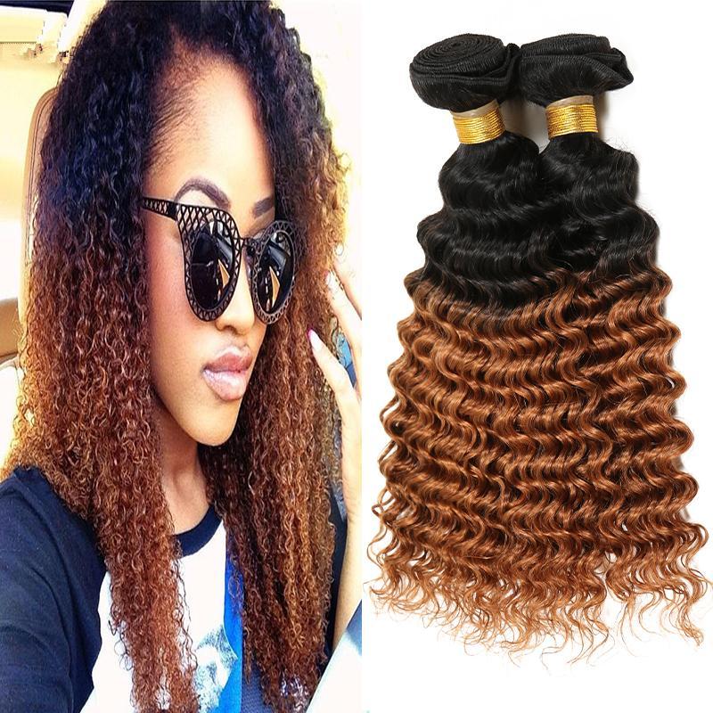 Beauty Honey Blonde Hair Bundles Deep Curly Hair Weaves 3 Pcs Lot #1B/30 Two Tone Human Hair Product For Black Woman