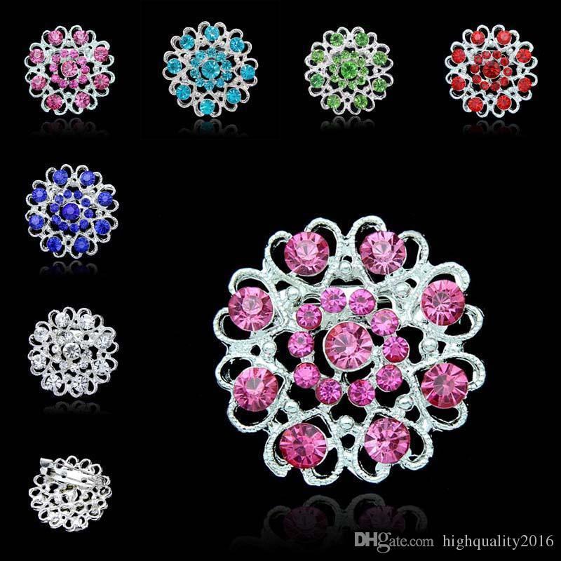 Großhandel Rhinestone Kristall Herz Blumen Brosche Pins
