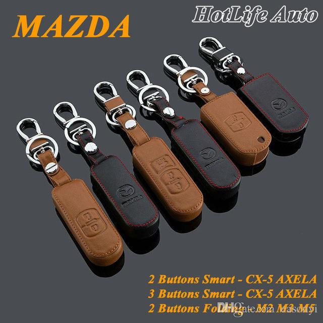 MAZDA CX-5 / Axela / 2 / 3 / 5 키 체인 정품 가죽 자동차 키 케이스 홀더 커버 스마트 원격 제어 합금 자동차 키 체인 열쇠 고리를
