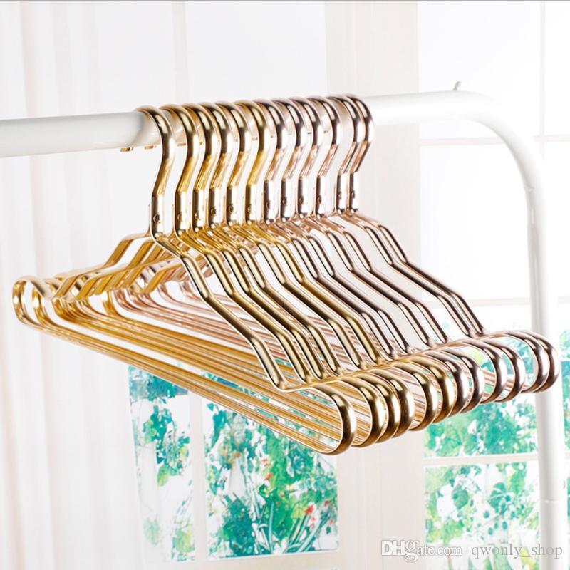 Metal Hangers Adult Suit Thickening Shelf Clothes Drying Racks Anti Skidding Curve Design Coat Hanger Seamless Rose Gold Rack