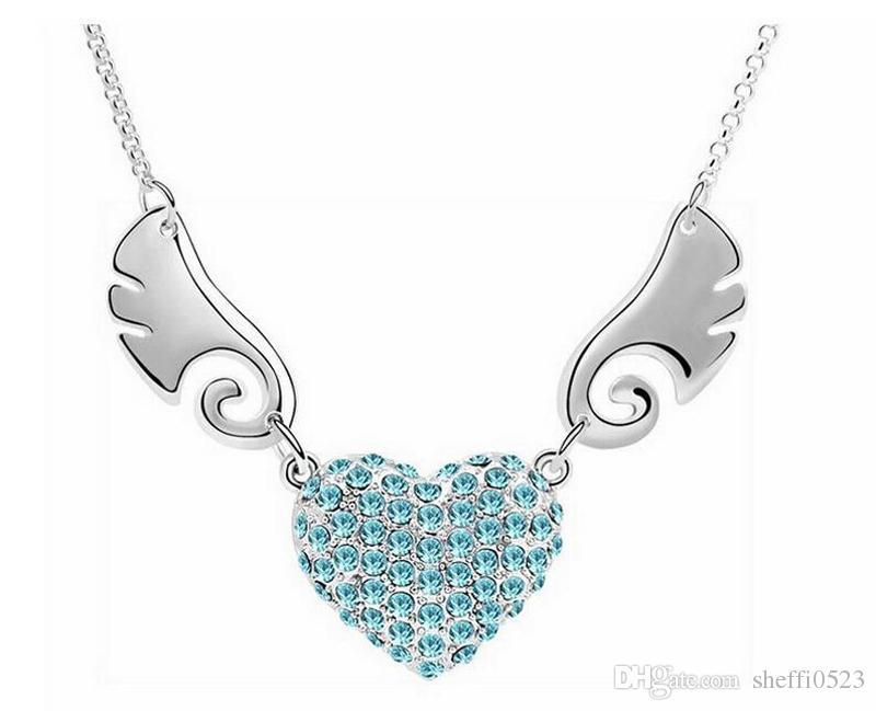 Крылья ангела сердце ожерелье ювелирные изделия мода полный горный хрусталь Ожерелье для женщин лучший подарок 6 цветов 10 шт.