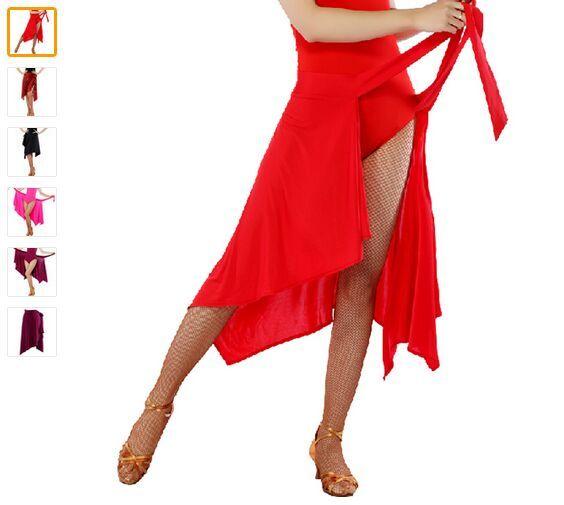 2018 Mulheres Saia de Dança Latina Vermelho / Rosa / Preto / Roxo / Leopardo Lady Cha Cha / Rumba / Samba / Tango / Dança Latina Saias de Dança Salsa