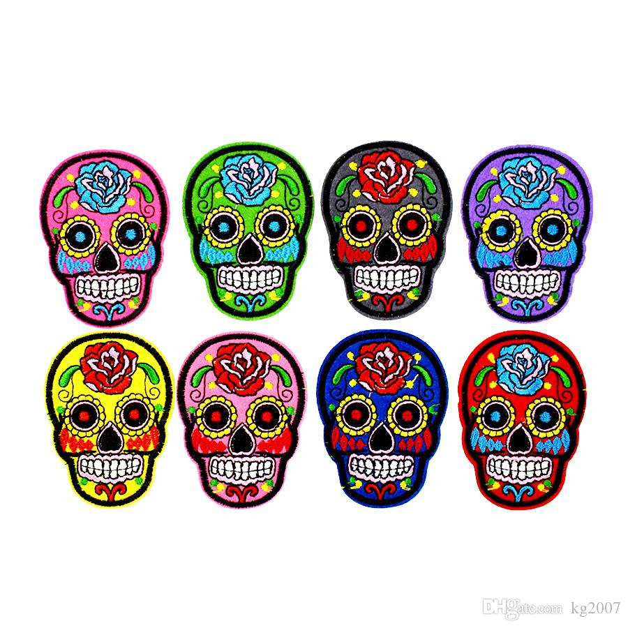 8PCS Multicolor Skull Patches for Clothing Bags Iron on Transfer Applique Patch for Jacket Jeans DIY Sew on Embroidered Stickers
