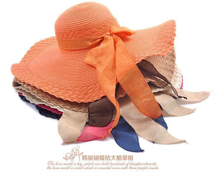 2016 New Spring Summer Bow Bow in pizzo largo cappelli da corn per le donne Visiera solare spiaggia Paglia Cappello Chapeau Femme