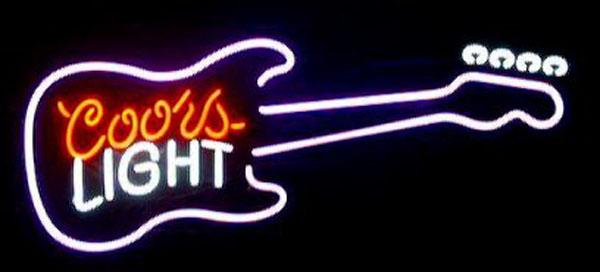 "Coors Light Guitar Neon Sign Hand-crafted Custom Real Glass Tube Store KTV PUB Beer Music Bar Party Advertising Display Neon Signs 19""X12"""