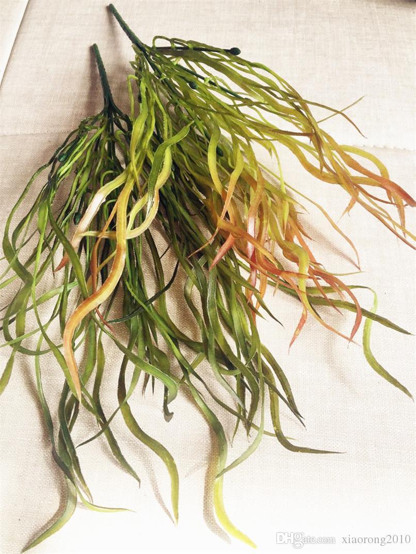Plastik Yeşillik Demet (6 sapları / parça) 38 cm Yapay Hasır Düz Çim Yeşil Bitki Düğün Noel Ev Dekor için