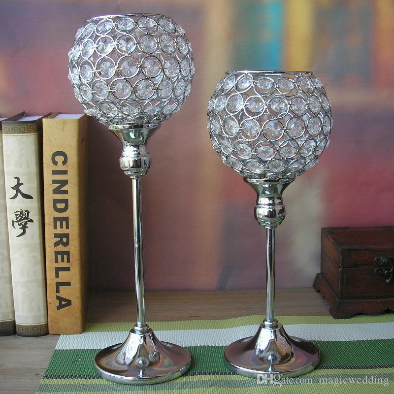 2pcs/lot Crystal globe Votive Candle Holder Metal Candle stand with Crystal Ball Silver-gold for Home decoration