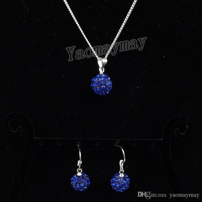 Royal Blue Disco Ball Pendant Earrings And Necklace For Girls Rhinestone Jewellery Set 10 Sets Free Shipping