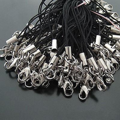 100 pezzi per lotto cordino nero per cellulare cordino cinturino per moschettone