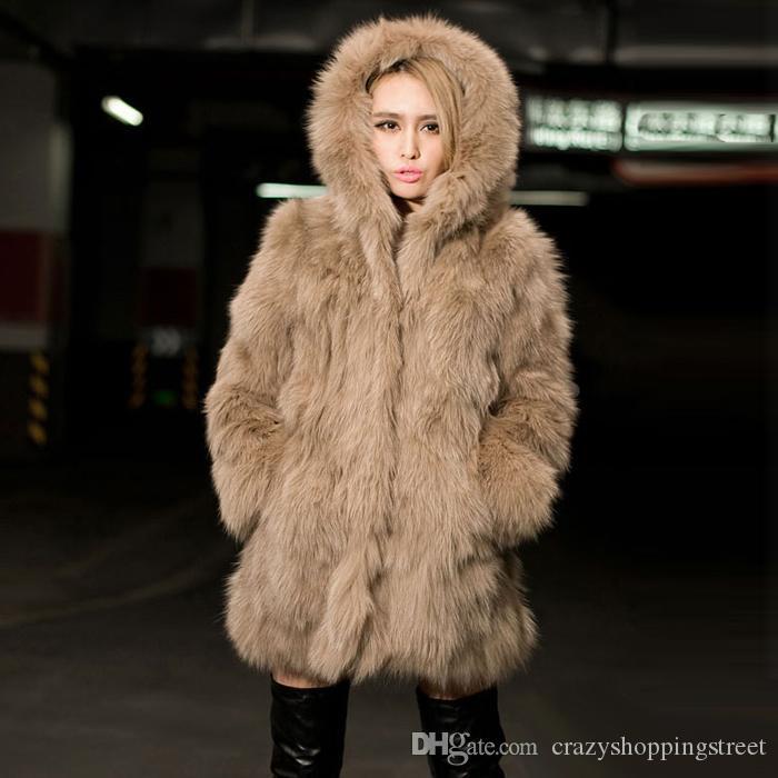 Inverno Nero Bianco Khaki Faux Fur Coat Per maniche lunghe con cappuccio lunghe giacche del partito di modo delle donne pista lunga Cappotti Top
