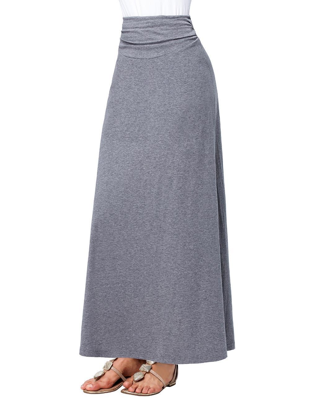 dca9c19f5 Compre Cintura Alta Plisado Falda Larga Negro Gris Nueva Moda 2017 Otoño  Invierno Algodón Mujer Falda Maxi Aline Palabra De Longitud Faldas Saia A  ...