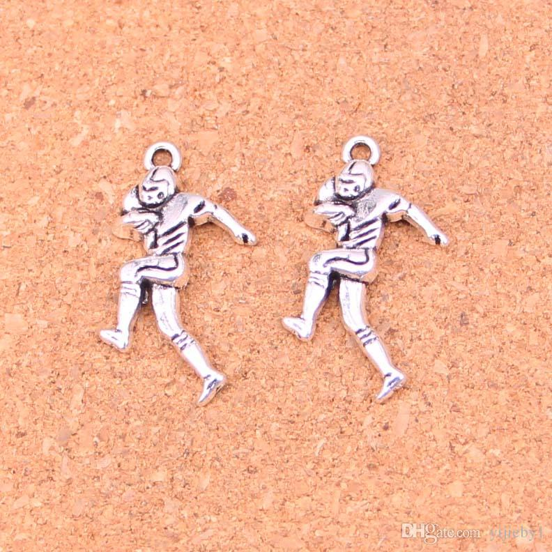 118pcs Antique silver Charms soccer player sporter Pendant Fit Bracelets Necklace DIY Metal Jewelry Making 30*13mm