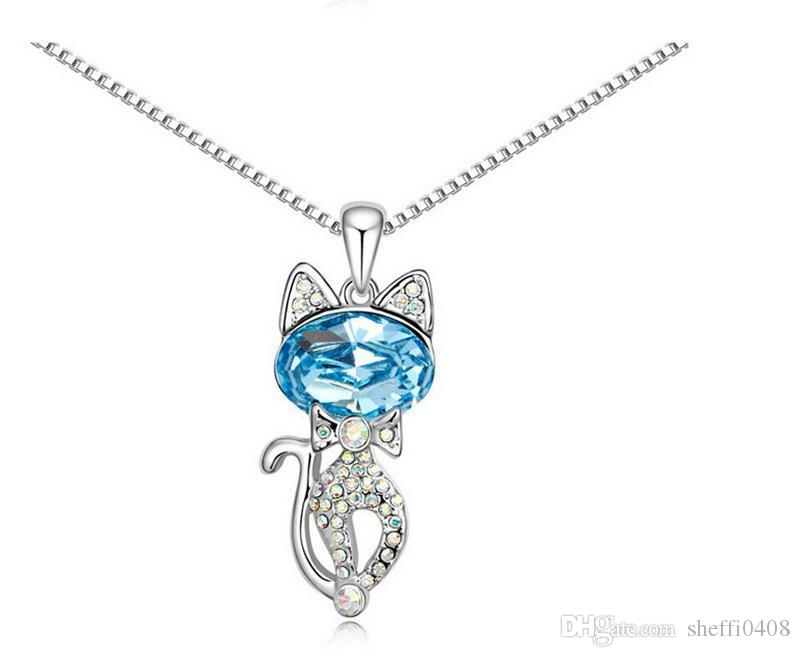 South Korean Crystal Necklace Jewelry 18k White Plated Cat Pendant Necklaces For Women Best Gift G120-53