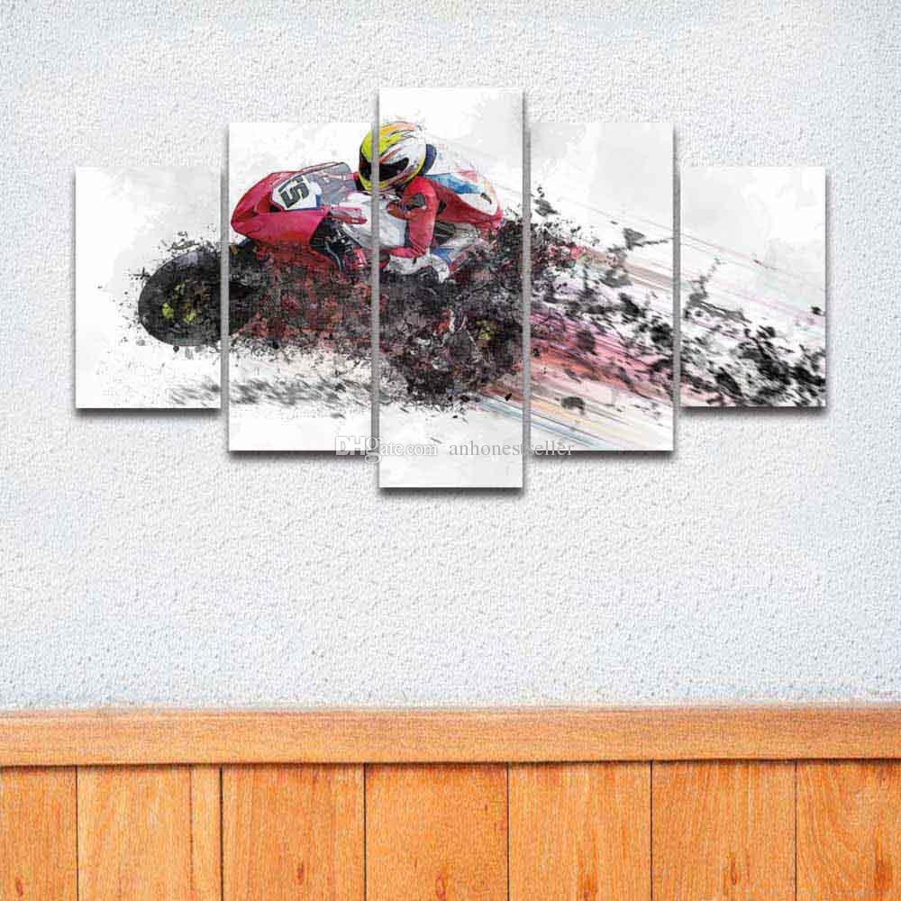 5 панель холст стены картина мотокросс гонки Мото живопись современный плакат HD печать для домашнего декора гостиной спальни