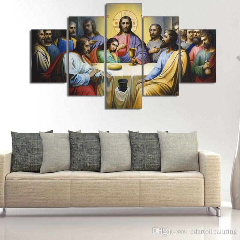"""LARGE 60""""x32"""" 5Panels Art Canvas Print Jesus The Last Supper Wall Home Decor interior (No Frame)"""