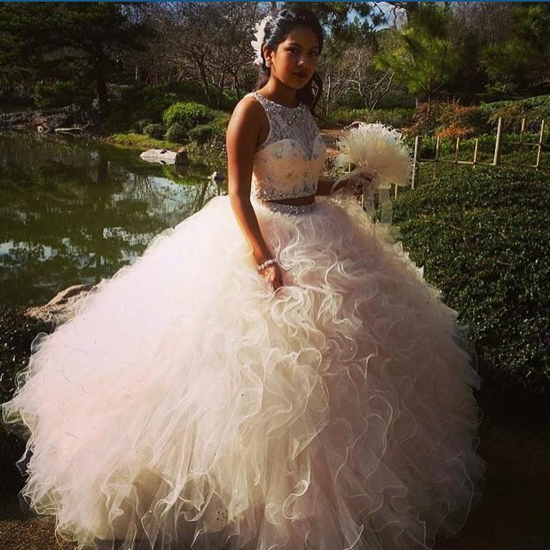 Gorgeous Two Pieces Ball Gown Quinceanera Dresses 16 Junior Flouncing Ruffles Organza Beaded Sparkly Evening Dresses Crystal Lace Illusion