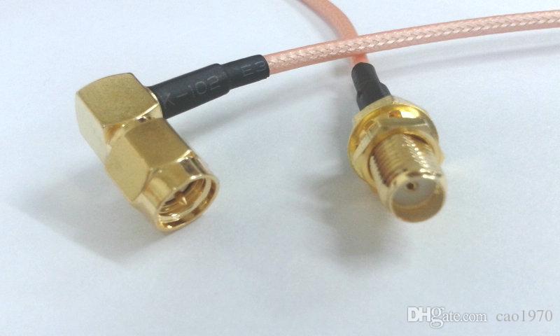 SMA ángulo recto macho A SMA hembra con tuerca coleta para cable RG316