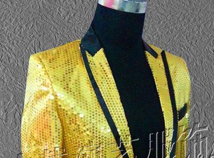 Disfraces de la edición de han de personaje masculino cantante de la estrella del club nocturno ropa de rendimiento escénico Chaqueta de lentejuelas de oro anfitrión MC / S - 5xl