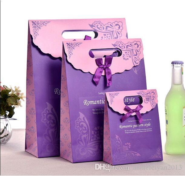 54PCS LavenderPurple / الكثير L / M / S مجوهرات / المصوغات الحقائب حقائب هدايا الزفاف الملابس حلوى المحمولة حقيبة يد / حمل حقيبة مع غطاء ملصق ماجيك